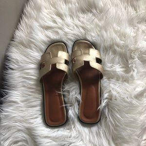 Shoes - Gold Flip Flops